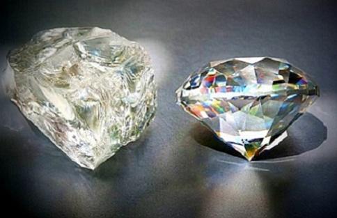 Неограненный и обработанный алмазы